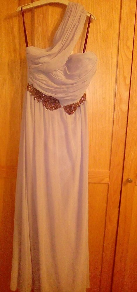 little mistress grey silver maxi dress size 14 one shouldered