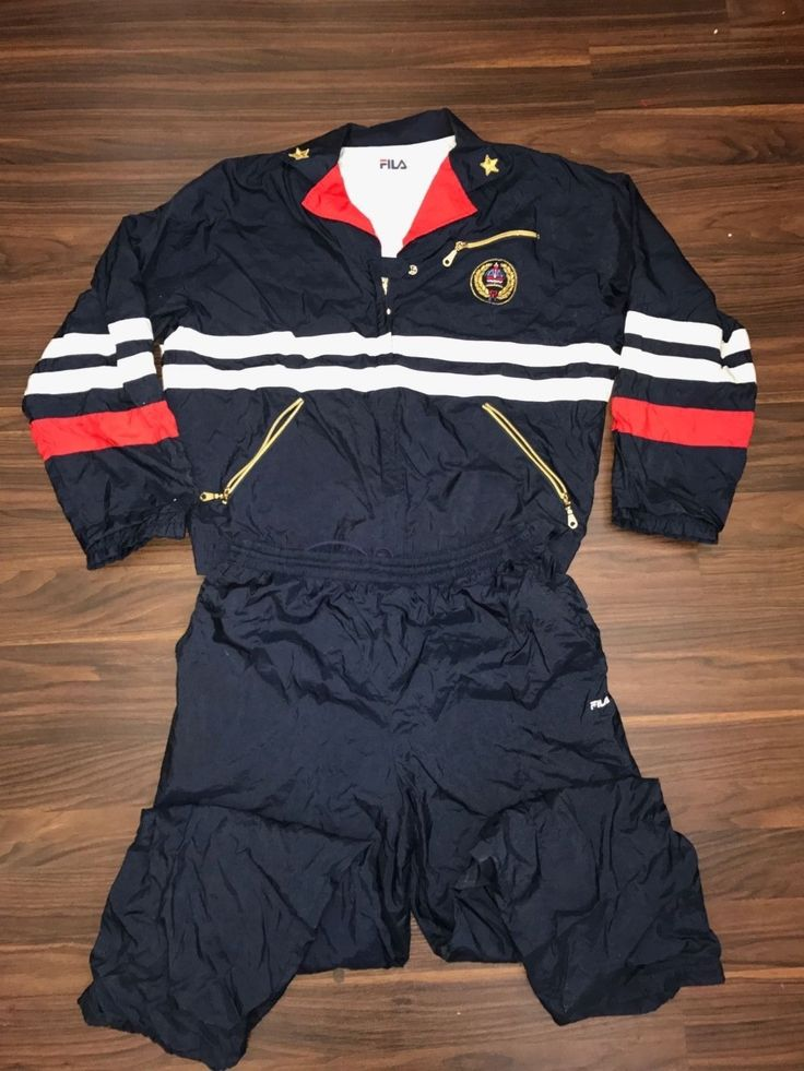 Tennis 430: Fila Vintage Crest Warm Up Jogging Track Tennis Suit Usa 12 -> BUY IT NOW ONLY: $49.99 on eBay!