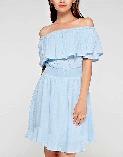 SOUTHERN GIRL FASHION Off the Shoulder Swing Dress Light Blue Smocked Mini S M L #Boutique #Easter