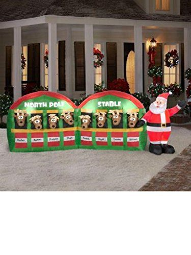 11 ft Inflatable Santa Stable with 8 Reindeer Christmas Holiday