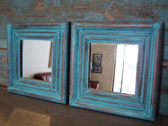 the frames are a chunky wood that i hand painted turquoise distressed and hand waxed - Distressed Frames