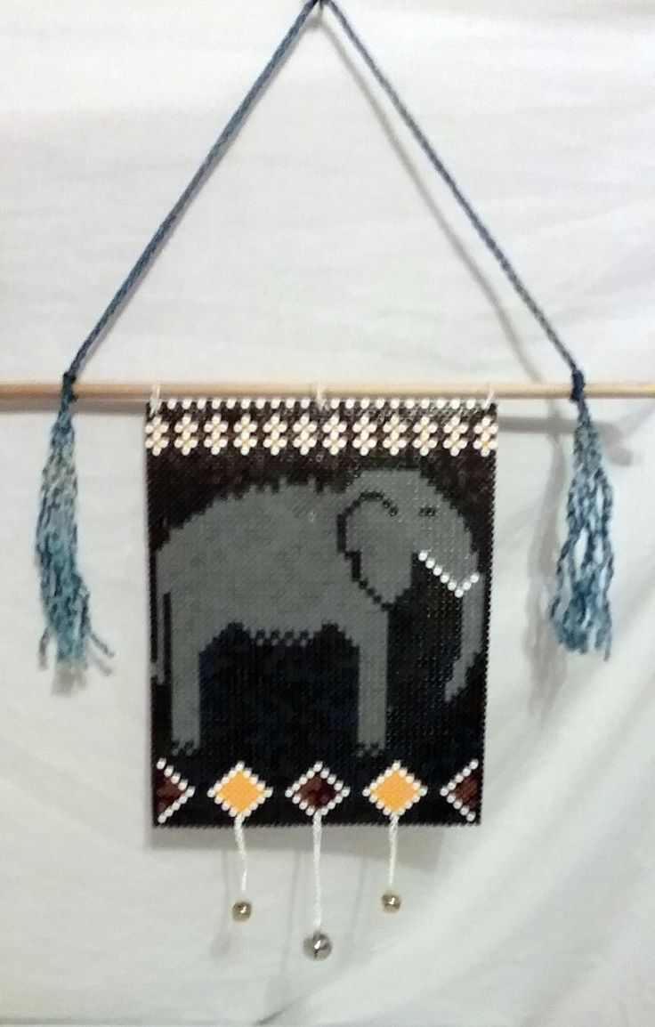 Elephant Banner & Bells Made with Perler Beads