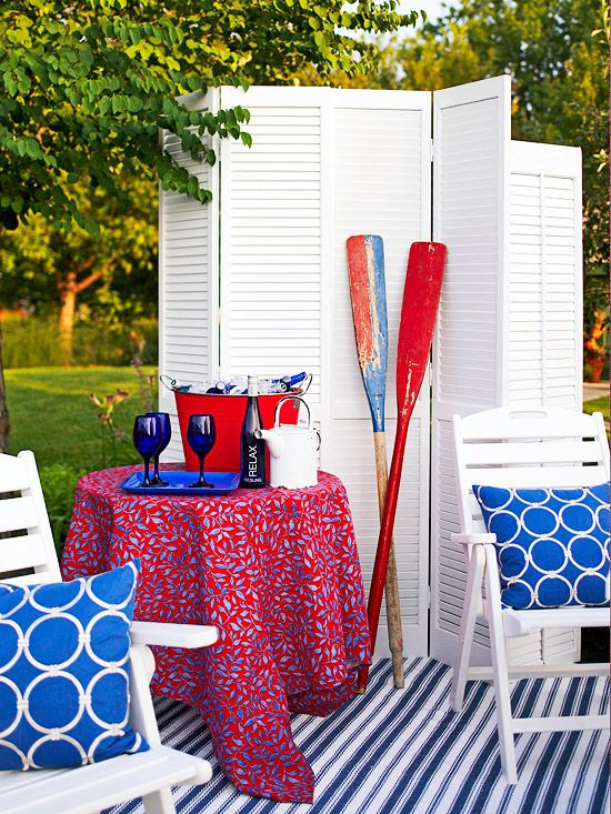 17 best images about all american decor on pinterest red for Nautical themed backyard