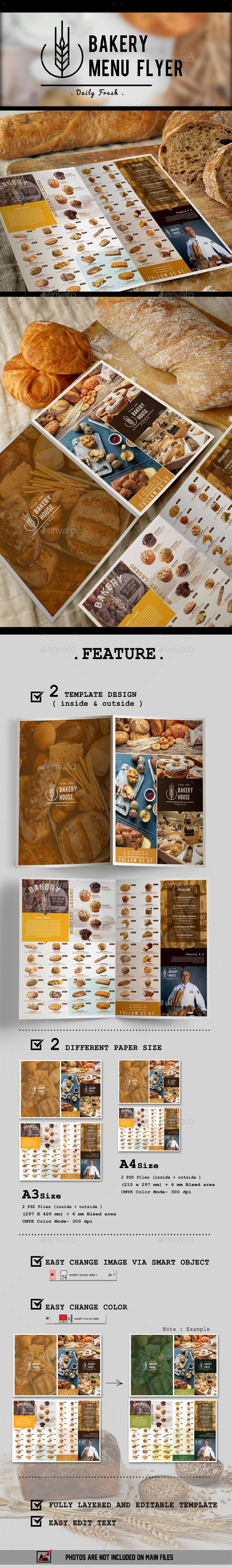 #Bakery Menu Flyer - #Flyers Print Templates Download here: https://graphicriver.net/item/bakery-menu-flyer/16083135?ref=alena994