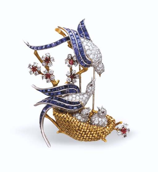 a retro gem set lovebirds brooch by van cleef arpels. Black Bedroom Furniture Sets. Home Design Ideas