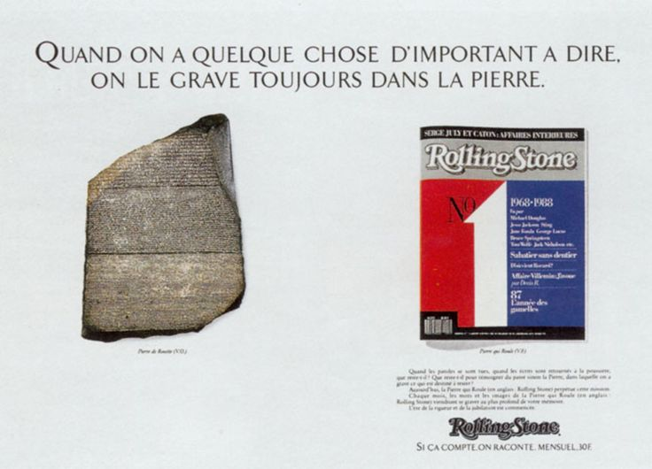 Read more: https://www.luerzersarchive.com/en/magazine/print-detail/rolling-stone-magazine-new-york-13987.html Rolling Stone Magazine, New York If you have something important to say, carve it in stone. (On the left, the Rosette Stone, which became the primary key to deciphering hieroglyphics.) Claim: Roling Stone. If it counts , we recount it. Monthly. Tags: Paul Goirand, Paris,Rolling Stone Magazine, New York,Christian Picard,Jean-Pierre Merlet,Ecom-Univas, Paris