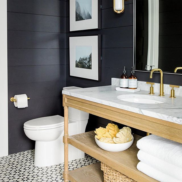 { B L A C K I S B E A U T I F U L }  One of our favourite design trends at the moment is black shiplap panelling.  How striking is this gorgeous bathroom design by @studiomcgee - For a similar paint colour here in Australia try @duluxaus #Dulux #Klavier . . . . #shiplap #blackandwhite #bathroom #bathroomdesign #vanity #interiorinspiration #interiordesign #french_dressing_furniture #frenchdressing