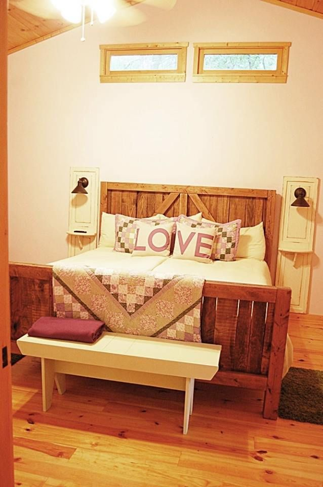 I'd wanted a rustic barn door style bed forever. Finally convinced the hubster it was something we could do using pallet wood I'm always up-cycling. Here's our…