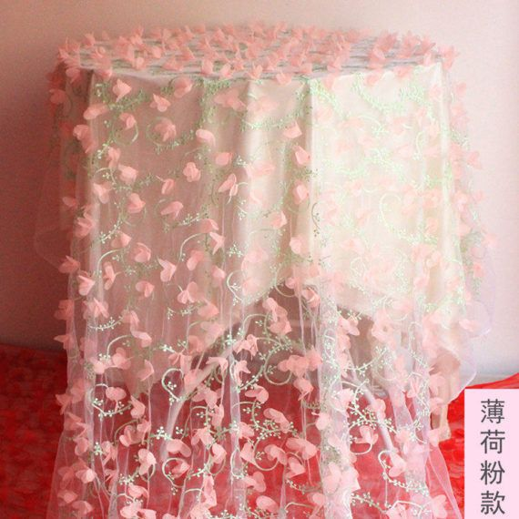 3D Lake blauw rozet Chiffon stof rozen stof 47 inch breed 1