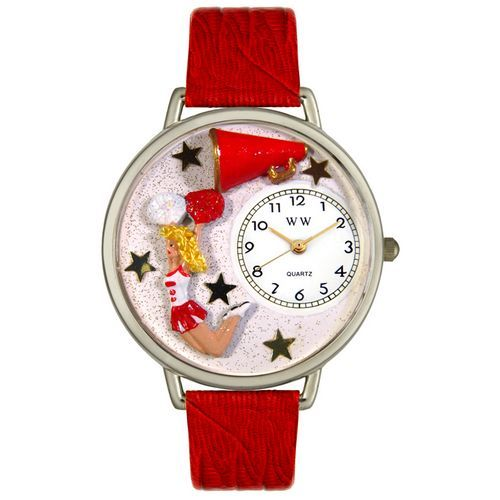 This unique gift watch features a hand-painted miniature of a cheerleader and a megaphone.  #cheerleader #gifts #wristwatches #jewelry #forgirls #cheer #cheerleading #spirit #varsity #squad