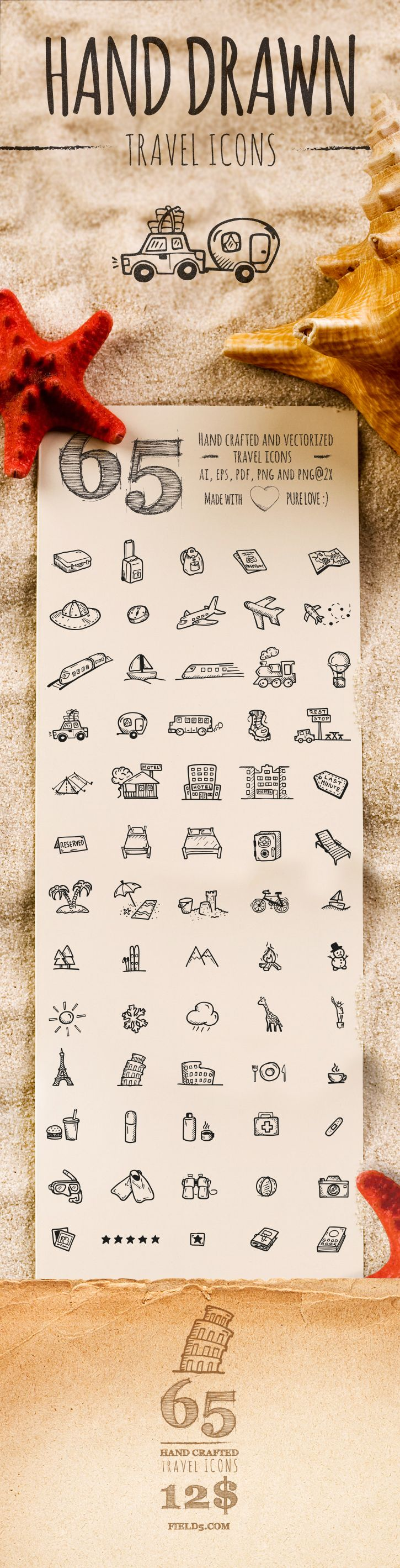 65 high quality, hand drawn and vectorized travel icons.Package contains ai, eps, pdf, png and png@2x for retina screens   There's more!  ...