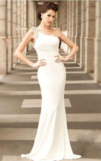 Sleeveless None One Shoulder Floor-Length Chiffon Evening Dresses eraa1064