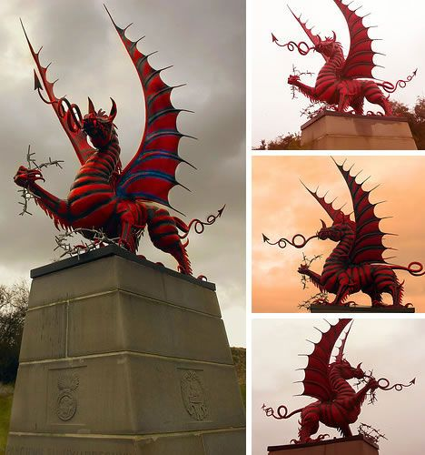 Wales has the best flag in the world- this  is a WW1 Memorial featuring the dragon from the flag:)