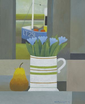 """Reg Cartwright - Estuary Still Life with Flowers and Pear (oil on board 14"""" x 17"""")"""
