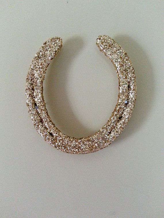 Gold Glitter Lucky Horse Shoe by LuckyPonyShop on Etsy,
