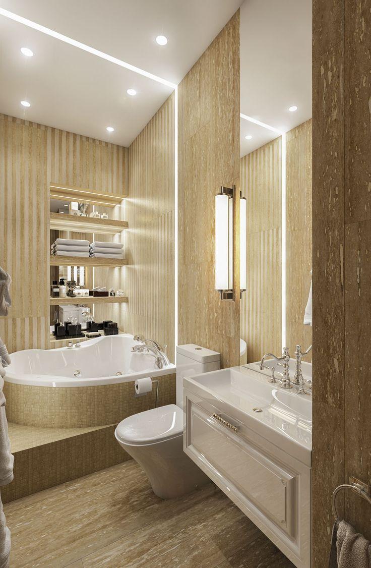 Дизайн апартаментов ЖК Balchug Residence. Ванная 3. Вид 3  #аркси #arxy #дизайнинтерьера #элитныйинтерьер #дизайнквартиры #ванная