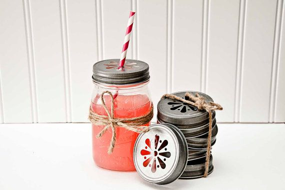 60 PEWTER Daisy Cut Mason Jar Lids for Tumblers Cups Glasses Wedding Baby Shower Kids Birthday party Table Setting Favors w/ Straw Flags