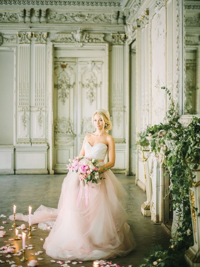 Pink princess wedding dress | Rodion Shapor Photography | see more on: http://burnettsboards.com/2015/12/fairytale-rose-quartz-wedding-inspiration/: