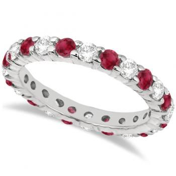 Eternity Diamond & Ruby Ring Band 14k White Gold (2.35ct) - Allurez.com