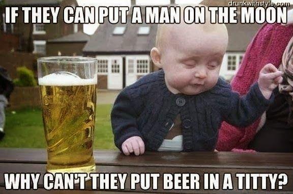 Man On Moon Beer Drunk Baby Meme