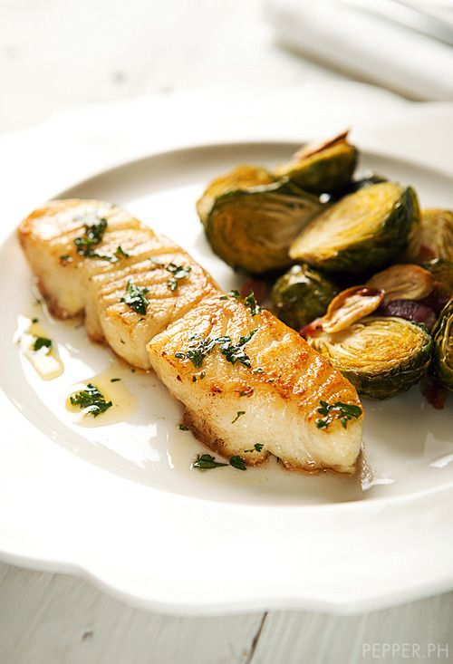 Pan Seared Sea Bass and Brussel Sprouts