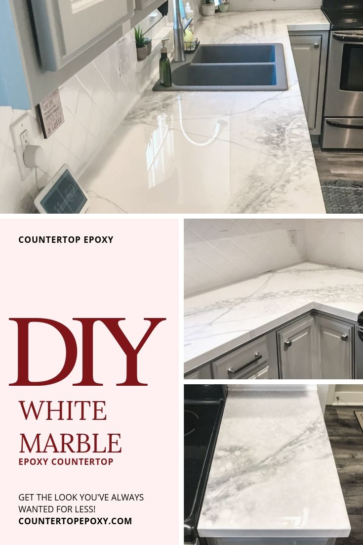 Premium White Marble Fx Poxy Countertop Kit Diy Kitchen