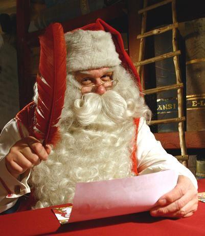 Joulupukin kirje ja Joulupukki Joulupukin kammarissa (Rovaniemi)