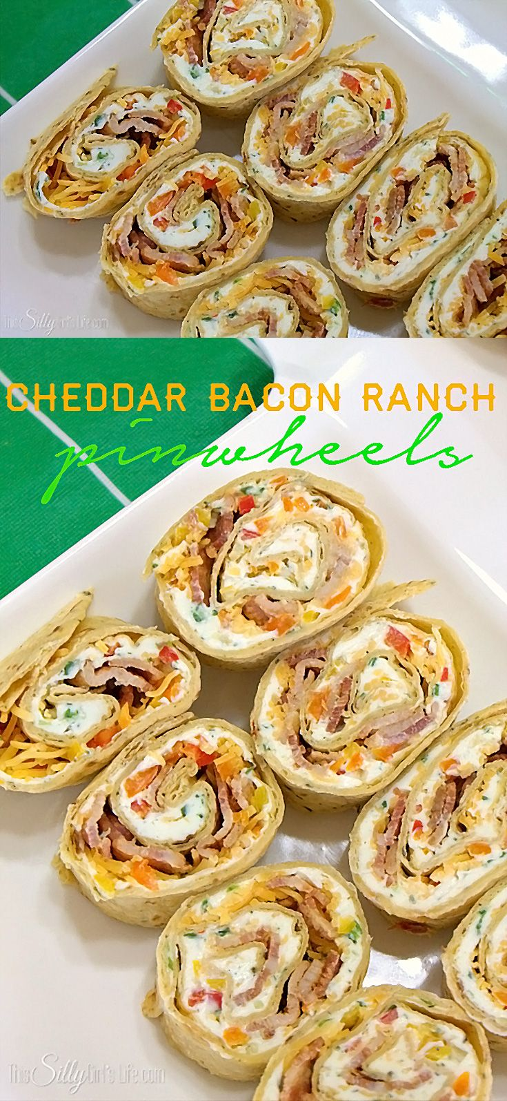 Cheddar Bacon Ranch Pinwheels, tortillas filled with ranch flavored cream cheese, bacon, cheese and more!