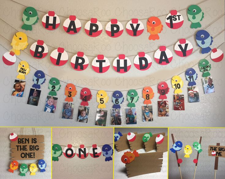 Your little fisherman is reeling in THE BIG ONE! Fishing Themed First Birthday Decorations Package! The perfect addition to your fishing themed birthday party, photoshoot or bedroom! Happy 1st Birthday Banner *Five (5) Googly-Eyed Fish (4.5 wide x 7 tall) *5 Bobbers *Ten Feet (10ft) of