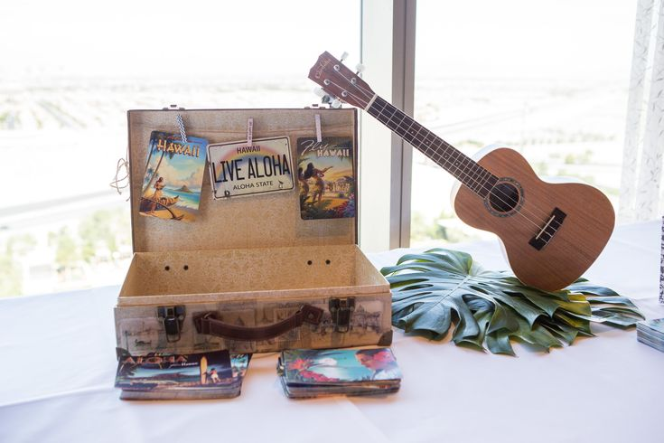 Our postcard guestbook area with vintage Hawaiian postcards!