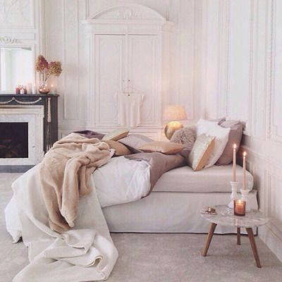 Cream and white fall bedroom