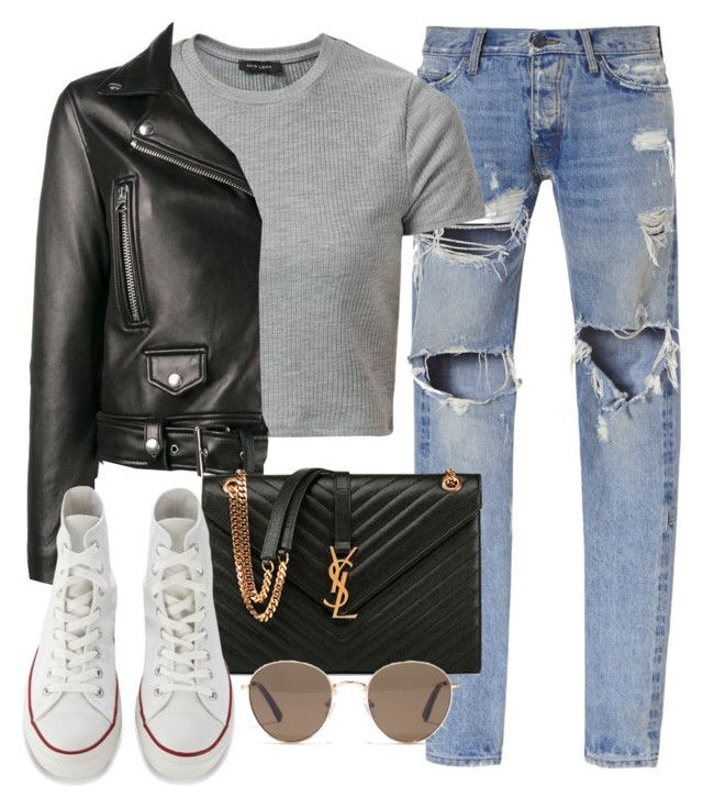 Untitled #3082 by camilae97 on Polyvore featuring New Look, Acne Studios, Gosha Rubchinskiy, Converse, Yves Saint Laurent and Madewell