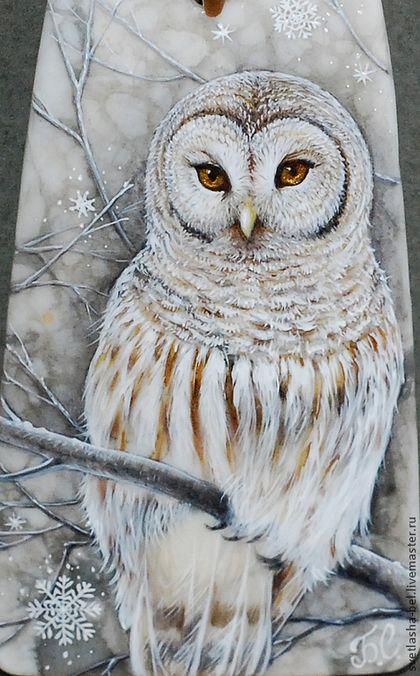 сНежности... Сова.. - снежный,лаковая миниатюра,живопись маслом,живопись на камне