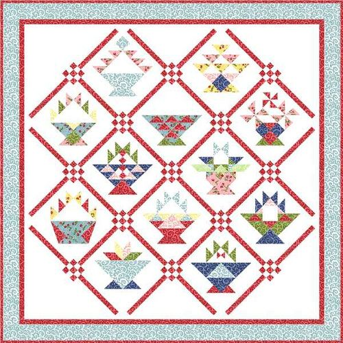 Setting Option 6 by Piecemeal Quilts, on point with 9 patch corner blocks