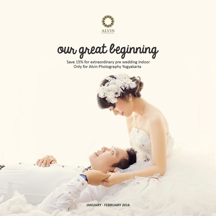 """The greatest """"Pre Wedding Indoor Promo"""" from Alvin Photography starts from January until February 2016. Kindly enjoy our big discount on this promo. We will present the best photos Pre Wedding Indoor for you, our beloved customer.  Save 15%, and you will get these amazing services: - 3 Hours Photo Shoot - 20 Edited Photos - 1 Album 20x30 (20 pages) - 1 Photo with Frame 40x60 - Make Up and Hair Do - 1 DVD (20 edited files)  *)This promo only for Alvin Photography Yogyakarta."""