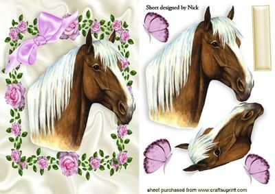 BEAUTIFUL HORSE IN PINK ROSE FRAME on Craftsuprint - Add To Basket!