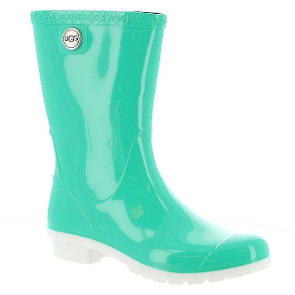 UGG Sienna Women's Green Boot ($65) ❤ liked on Polyvore featuring shoes, boots, green, mid-calf boots, waterproof rubber boots, slip on rubber boots, green boots, waterproof rain boots and green rubber boots