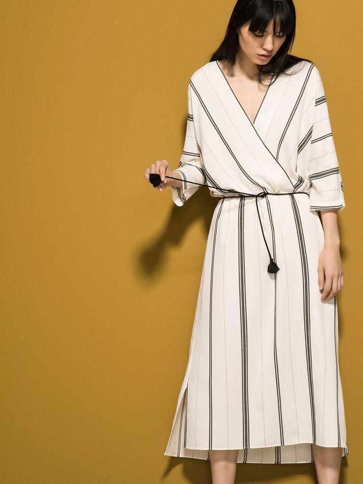 STRIPED KIMONO DRESS