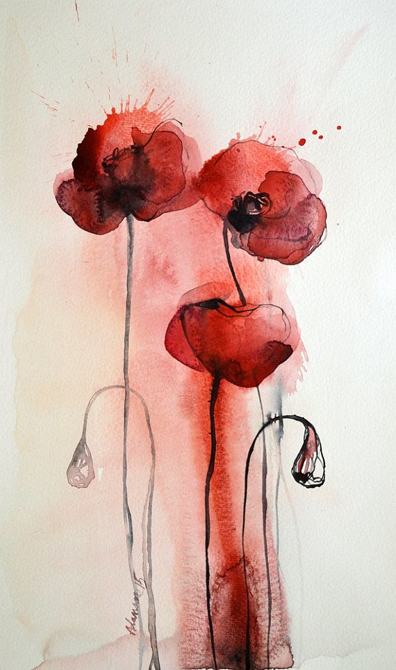 Poppies >>watercolor painting of red flowers. by AlisaAdamsoneArt #watercolor #art #etsy