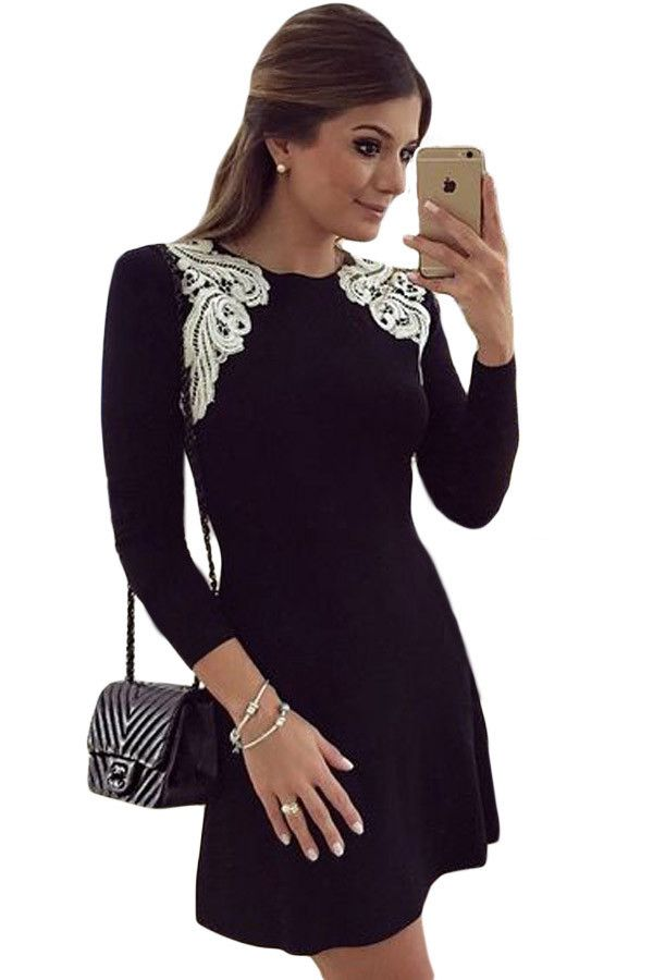 €16.53 @Modebuy #modebuy  Robes Patineuses Noir Manches Longues Dentelle Epaule…