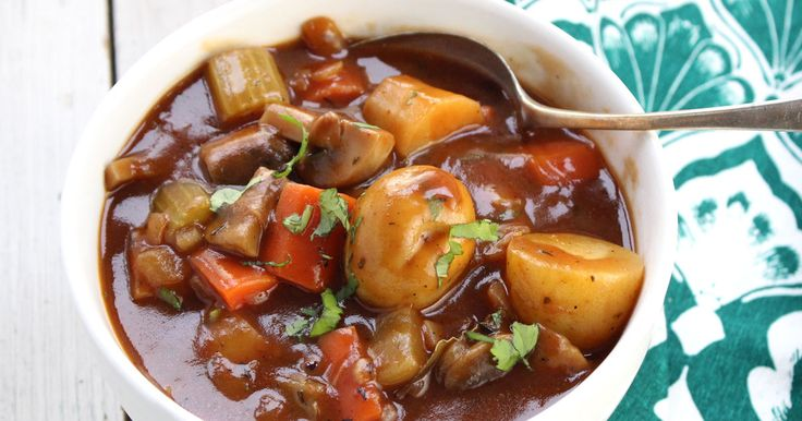 Hearty vegetables in a rich, earthy, thick stout beer broth. It's a stick to your ribs kinda stew!