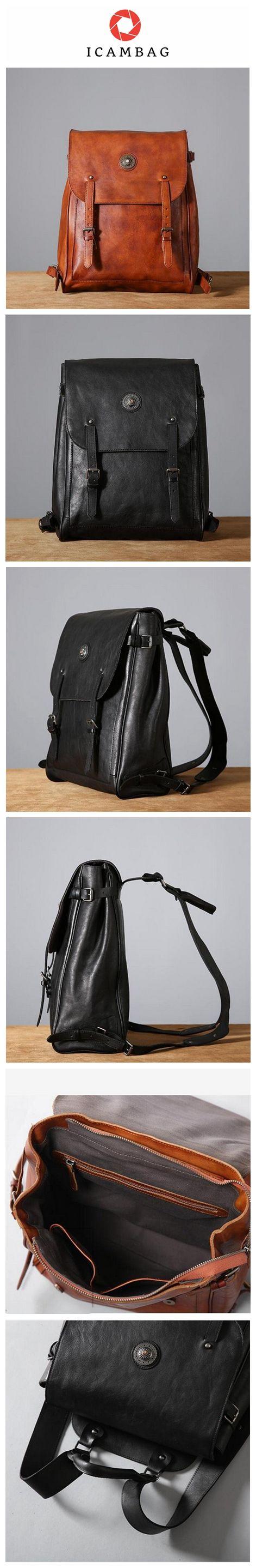 Vintage Handmade Cow Leather Backpack, School Backpack, Laptop Backpack