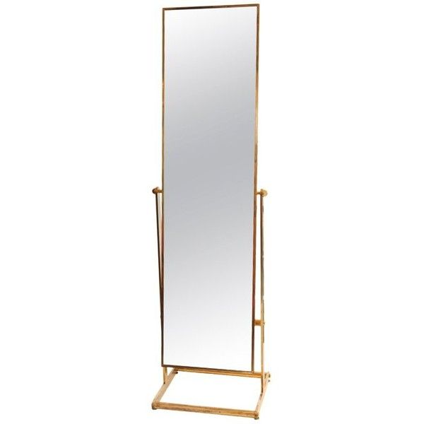 "French Modernist Solid Gilded Brass ""Psyche"" Standing Mirror found on Polyvore featuring home, home decor, mirrors, full length floor standing mirror, french full length mirror, brass mirror, polished brass mirror and full length standing mirror"