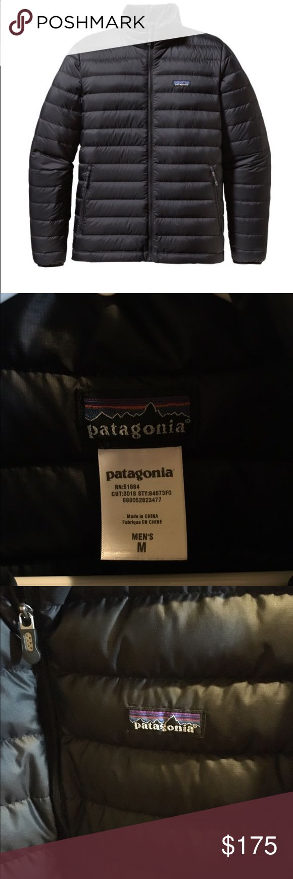 Men's Patagonia Down Sweater Jacket Black, European goose down, wind proof, 2 zippered hand pockets and one inside zippered pocket. Patagonia Jackets & Coats Puffers