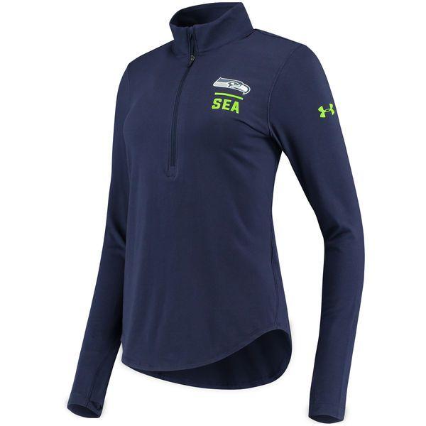 Seattle Seahawks Under Armour Women's Combine Authentic Favorites Half-Zip Pullover Performance Jacket - Navy - $59.99
