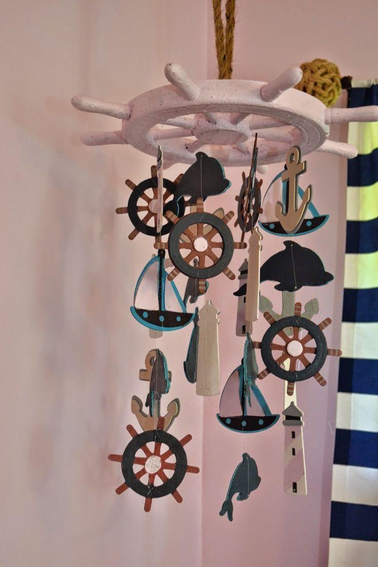 Perfect for a nautical themed nursery! | Manic Mama Miles: Nautical Nursery DIY Baby Mobile