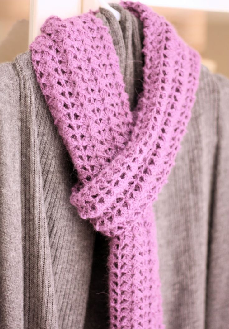 Crocheted Scarf {Free Pattern} | A Spoonful of Sugar -- beautiful gray and lavendar! Pair with a dark violet skirt, blazer, or cardigan!