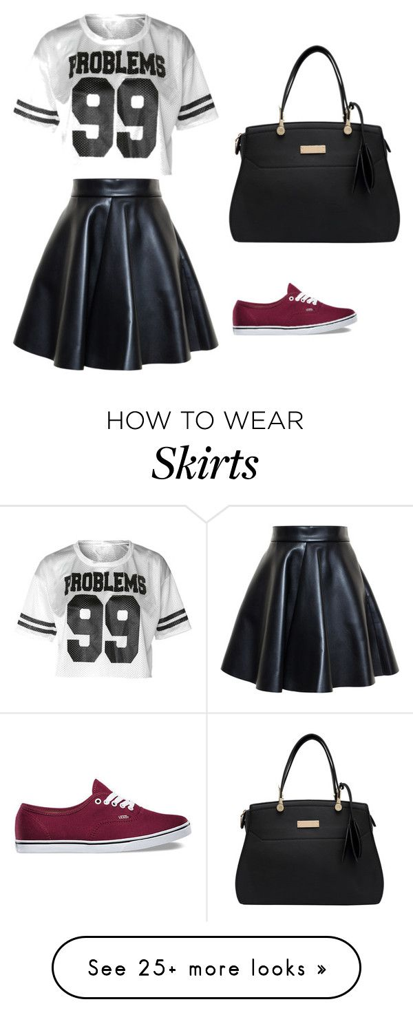 """""""Skater Skirt Outfit"""" by jaundraya on Polyvore featuring MSGM and Vans"""