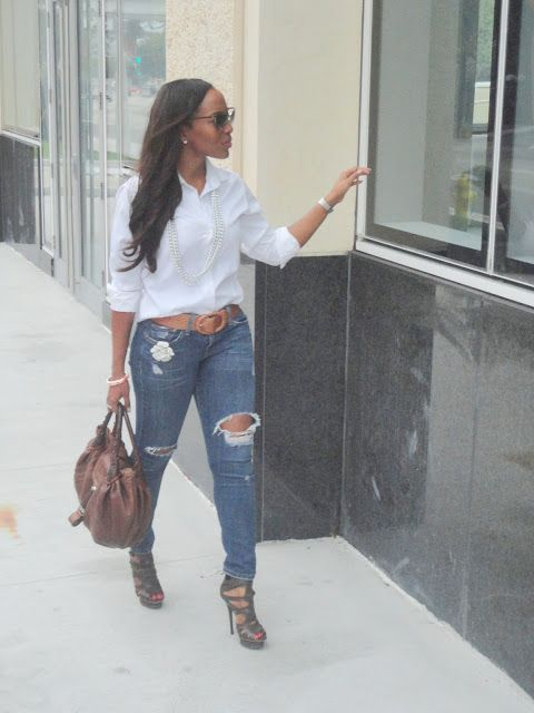 Shirt: Ann Taylor (similar & on sale), Jeans: Levi's (similar), Shoes: L.A.M.B. (similar), Purse: Fendi, Belt: Ralph Lauren (similar), Watch: Michele (here), Brooch: Twinkle, Twinkle (Miami), Ring: Forever 21, Bracelet and Necklace: Jewelry Boutique (Miami), Sunglasses: Gucci (here)