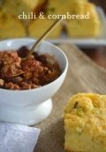 Chili and Cornbread- This chili recipe was delic- simple standard chili!  I added a can of blended beans to thicken it up.